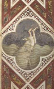 SSI65218 Jonah and the Whale, c.1305 (fresco) by Giotto di Bondone (c.1266-1337) fresco Scrovegni (Arena) Chapel, Padua, Italy Italian, out of copyright