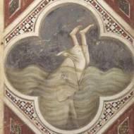 SSI65218 Jonah and the Whale, c.1305 (fresco) by Giotto di Bondone (c.1266-1337) fresco Scrovegni (Arena) Chapel, Padua, Italy Italian, out of copyright