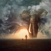 Elephant_Human_Dog_Horizon
