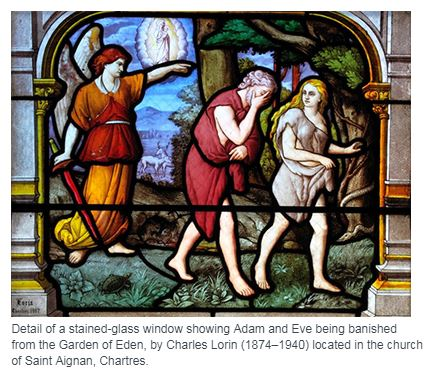 Adam and Eve Being Banished from Eden _ Lorin stained glass window