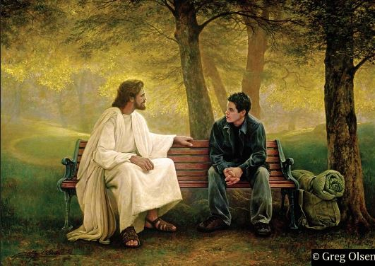 Jesus and the Backpacker _ Greg Olsen painting