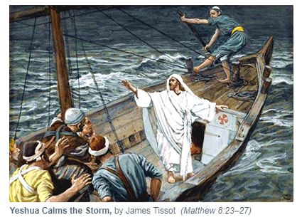 Yeshua Calms The Storm - James Tissot painting