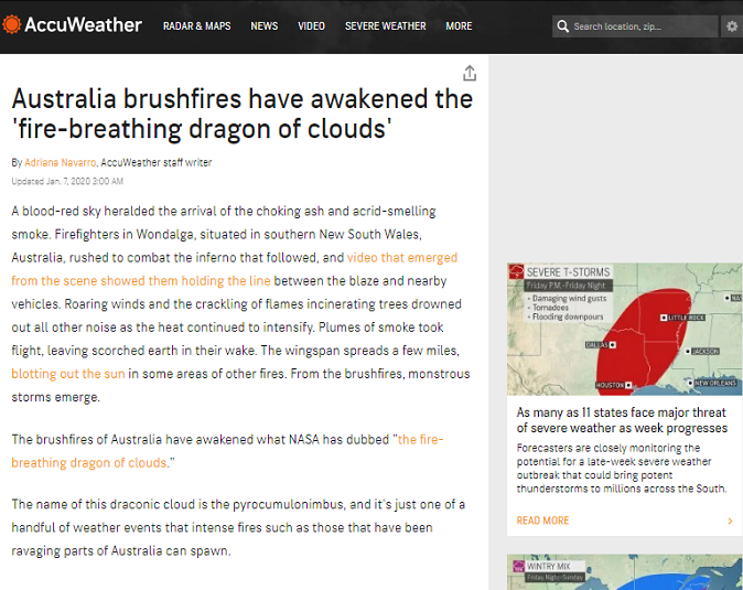WEATHER CHANNEL ADMITS RED DRAGON AUSTRALIA FIRES 8Jan2020